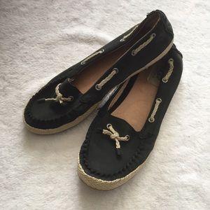 Ugg Suzette Black Leather Slip On Loafers